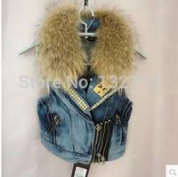 Exclusive special genuine raccoon fur vest women Denim Vest with fur winter sex coat free shipping colete denim