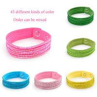 Aliexpress hot 2014 New Fashion 6 Layer Leather Bracelets for women jewelry resin rhinestones Charm women Bracelet 5 piece W6B1