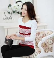 Korea ladies Sweet t shirt stripes of lace hit color long sleeve t shirt women women clothing wholesale 217
