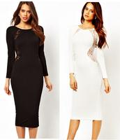 Long Sleeves Sexy Lace Inset Back Dress Black Womanly Lace Back Midi Dress Women midi dress look slender elegant 6456