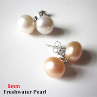New Fashion 9mm Flat Round Natural White/Pink Freshwater Pearl Stud Earrings for Women Fashion Jewelry