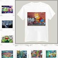 Graffiti Simpson Printed Tshirt For Women Men Short Sleeve Unisex Cotton Casual White Shirt Top Tee XXXL Big Size ZY055-19