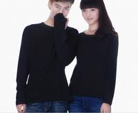 Blank o-neck long-sleeve t-shirt 100% cotton solid color t-shirt heat transfer printing basic t shirt free Shipping white black