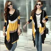 2014womens long sleeve knitted cardigan Rainbow V-neck Button leisure irregular collar  women cardigan sweater free shippingXQ60