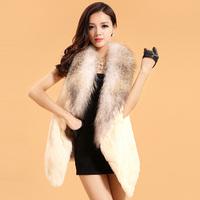 Fur vest 2014 fur rabbit fur coat raccoon fur medium-long women's fur vest