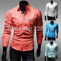 2014 Fashion men shirt casual shirt Slim Fit camisas male shirt 4 colors solid mens dress shirts