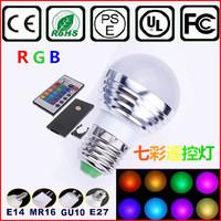 E27 3W RGB LED bar Light Bulb + 24key Remote Controller Magic Lighting 16 Colors change free shippng 2pcs/lot