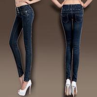 2014 autumn slim skinny pants female high elastic waist jeans female trousers pencil pants