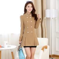 Size S-XXL 2014 Late Autumn New Women Slim Doubel Breasted Woolen Long Coat
