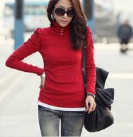 Plus-size warm women's clothing 2014 new winter cotton solid color t shirt  turtle neck long sleeve t shirt women 218