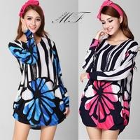Autumn Winter Floral Printing Desigual Plus Size Clothing Women Dress Vestio Femininas 2014 Pink Blue