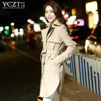 Trench Women new 2014 autumn winter slim fit outerwear women's long design coats khaki turn-down collar Kroean elegant jacket