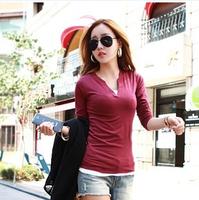2014 new fashion casual women lady spring girl autumn long sleeved shirt collar V T - Shirt Blouse Top Shirt Tee 219