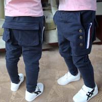 Spring&autumn 2014 new children's clothing children's trousers kids Copper buckle&Multi-pocket casual pants unisex pants feet