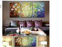 Free shipping! High-quality Palette knife thick oil white flowers landscape painting,home decor artwork on canvas with low price