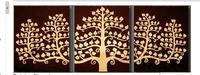 100% handmade Gold tree Oil Painting art artwork painted 40x40cmx3 decoration painting large living room 3pcs/set framed art