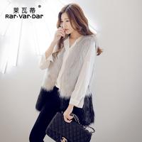 new 2014 free shipping  Artificial fur  fox fur coat medium-long sleeveless shirt vest women's vest