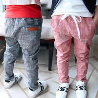 Spring&autumn 2014 new children's clothing children's trousers kids 100% cotton plaid casual pants unisex child fashion pants