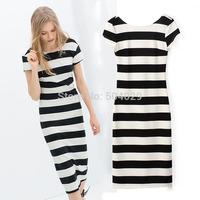 White Black Striped Women Short Sleeve Brief Straight Cotton Dress Fashion Ladies Stripes Casual Long Dress Hot Backless Dresses