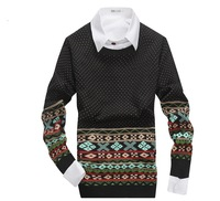 2014 Men's Knitted Clothing National Characteristics Print Pullovers Sweaters Fashion Winter Leisure Sweater For Mens