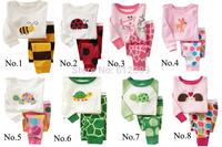 Wholesale (6set/lot) boys girls animal printed cartoon pajama sets children ladybug print Pyjamas Kids 2pcs baby clothing