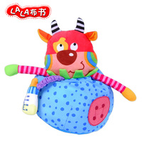 Lalababy 1pc grasp pacify cloth doll cartoon cow round pocket rattle handbell senses cognitive baby newborn infant toy gift