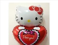Hot sale 50pcs free shipping foil balloon helium balloon,hello kitty heart-shaped balloon party Wedding decoration Children toy