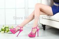 Big size:40-45 46 Sale 2014 summer Thin heel sandals red bottom T-strap 16cm platform sexy women's Patent leather wedding shoes