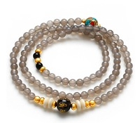 6.5mm Multilayer Gray Agate Natural Stone Bracelet for Women New Malas Free Shipping