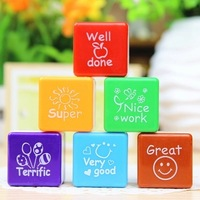 Free shipping 6pcs/set Teachers Stampers Self Inking Praise Reward Stamps Motivation Sticker School