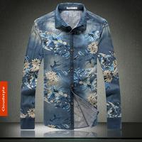 2014 New Arrival Brand Men's Casual Long Sleeve Denim Flower Shirts Men's Jeans Shirts for Male Plus Size 5XL Wholesale