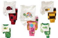 Brand New boys dinosaur printed pajama girls ladybug print pyjamas children bee and tortoise pijama kids for 2-7years