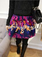 vintage skirt thickening woolen two layer bud floral print ball gown skirt high waist skirt women  (A2393)