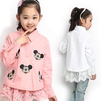 2014 children's clothing female child shirt spring fashion female child long-sleeve decoration female child shirt b5 1242