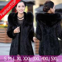 1195 New 2014 Women Plus Size 5XL Winter Long Design Faux Mink Fur Coat With Fox Fur Hooded Cape Ladies Outerwear Coats