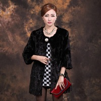 Luxury Long Fur Coat Women Winter Plus Size M-3XL High Grade Black Round Neck Genuine Mink Fur Coat C351C , EMS Free Shipping