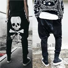 Men's Sports Jogging Style Mens Skull Printed Hip Hop Harem Black Sweat Pants Baggy Joggers Sweatpants Drop Crotch trousers Swag(China (Mainland))