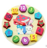 Free Shipping Star lantau/wooden toys digital blocks shape matching the 1-3-5 years old children's cartoon clock