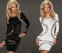 black/ White Gold Metallic Trim Long-sleeve Bodycon Dress mini sexy dress 21589