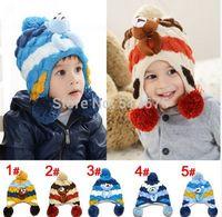 Free Shipping 2014 winter new cartoon papa Bear knitted hat children plus velvet earcap for girls/boys 2colors for option