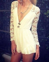 Long Sleeve crochet playsuits and jumpsuits White Deep V sexy rompers womens Lace And Chiffon Pacthwork overalls for women