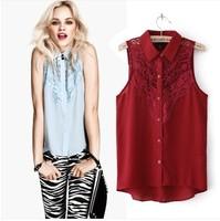 2014 New Summer Lace Crochet Chiffon Blouse Fashion Brand Turn Down Collar Sleeveless Shirt Tops Red Blue
