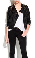 Women ZA Brand Pu Leather Outerwear Ladies Fashion Retro Punk Rivet Water Washed Leather Slim motorcycle Jacket Coat Black