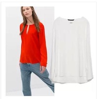 L259 New Fashion Brief Solid Color V neck European Shirt White Chiffon Long Sleeve Women Blouse