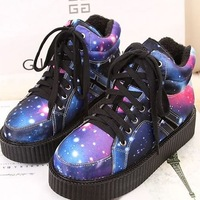 2014 new fashion Harajuku plus velvet platform ankle martin boots colorful flat  heel  round toe lace-up women shoes z42