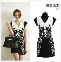 2014 European and American summer new dressTemperament figure flattering plus size V-neck Chiffon Dress