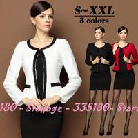 S-XXL Brand Ladies Beaded Blazer suit Short Jackets Women Long Sleeve Cardigan Outerwear Coat Autumn Winter Clothing 3249