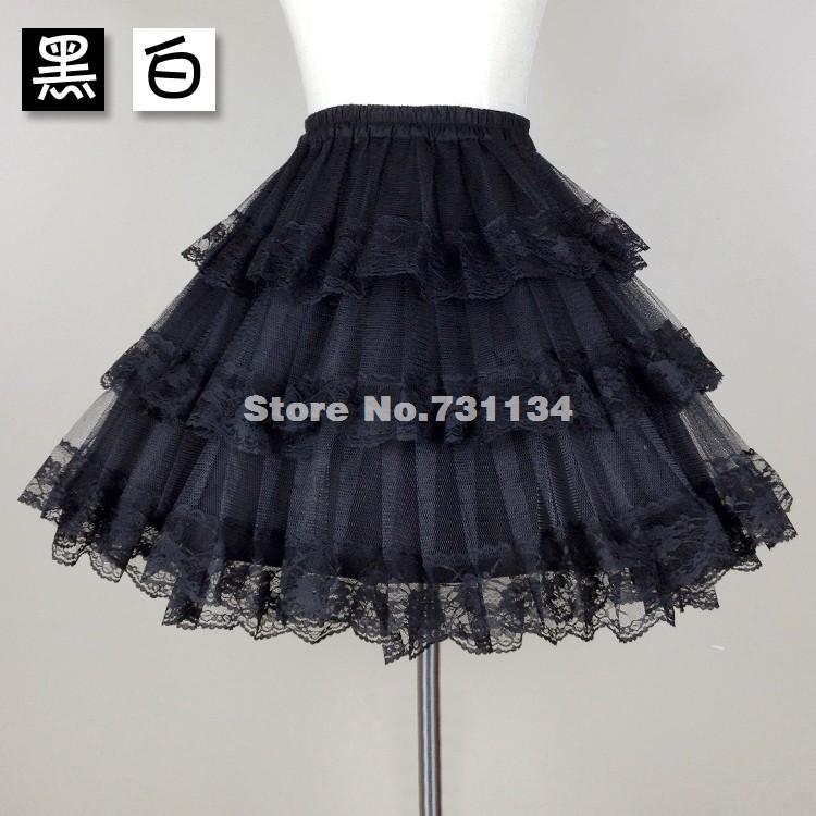 Violent Gothic Baroque Rococo Lolita Bottom Skirt Black/White Lace Petticoat(China (Mainland))