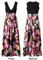 Europe stand printed euramerican fashion dress amazon sells deep v-neck sleeveless garment printing