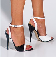 2014 summer new fashion pointed high-heeled patent leather shoes with a single thin hollow strap sandals women